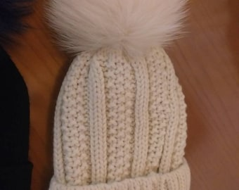 New!Modern knitted Pompom hat  with Real Fox!