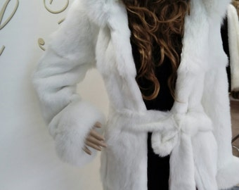 NEW!!!Natural Real Hooded White fullskin Rabbit Fur Coat with fox!!!
