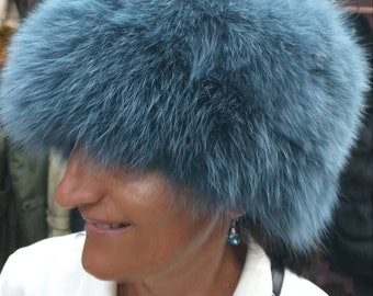 New!Natural,Real NAVY Blue color Fox Fur HAT!