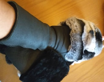 New!Natural,Real LONG Black Sheepskin GLOVES with Rex fur in chinchilla color or Any color you like!