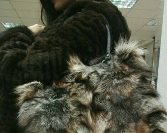 New!Natural,Real Crystal FOX FUR BAG!!!