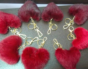 New RED Beautiful Real Mink Hearts Keychains! Buy two or more and get free shipping!
