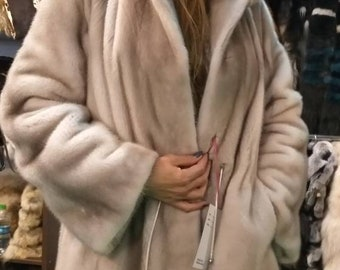 New!Natural Real Modern Hooded Fullskin Amazing color Mink Fur coat!
