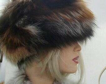 New!Natural,Real Crystal Fox Fur HAT!