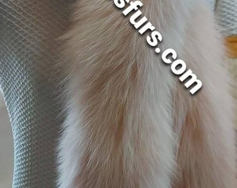 FOX SCARF in Light PINK!Brand New Real Natural Genuine Fur!