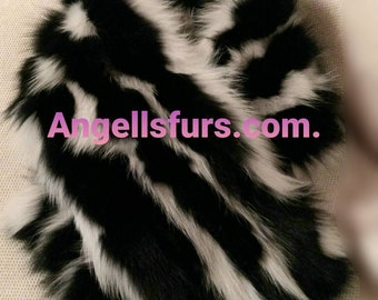 New Natural Real Long BLACK and WHITE FOX collar-Scarf! Unisex!
