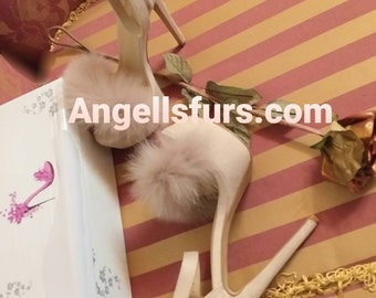 New Real NUDE Color Fox Fur HIGH HEELS!Order Any color!