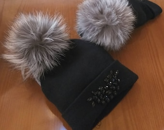 New!Modern Black  Beanie beautiful caps  with Real Fox pompon on the top!