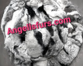 New!Natural,Real Rex Round Fur Hat in Beautiful chinchilla colors!