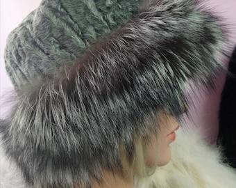 New!Natural,Real Astragan and Silver Fox Fur HAT!
