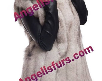 FOX HOODED LONG Vest!Brand New Natural Genuine Fur!Order Any color fox!