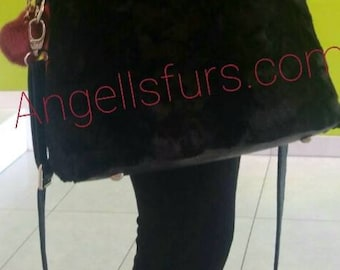 New Natural Real Beautiful model BLACK MINK Fur Bag!