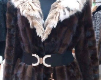 NEW!!!Natural Real Hooded Brown Mink Fur Coat!