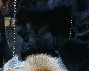 New!Natural,Real RED FOX Fur Bag!