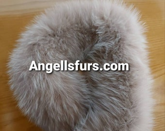 FOX HEADBAND NUDE Color!Brand New Real Natural Genuine Fur!