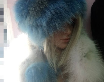 New!Natural,Real Light BLUE and natural colors Fox Fur HAT!