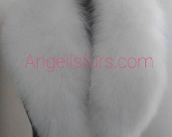 New Natural Real White FOX collar!