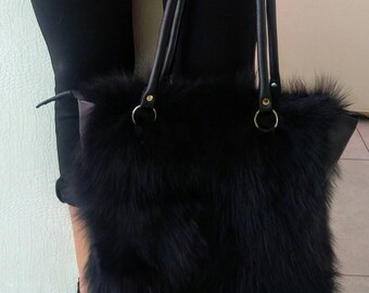 New!Natural,Real Black FOX FUR Shopper BAG!