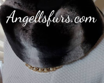 REAL Fur Collars-Headbands!FULLPELTS REX Fur in chinchilla color!Brand New Real Natural Genuine Fur!