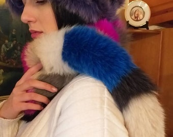 New!!!Natural Real Multicolored Fox  scarf!