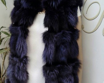 New model!!! Real natural Purple Fox Fur Vest!