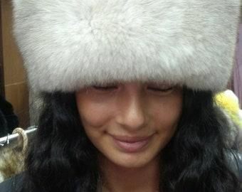 New!Natural,Real Fullskin Blue Fox Fur HAT!