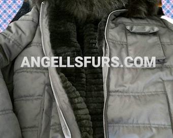 Men'S Hooded Black BOMBER jacket with internal REAL FUR!