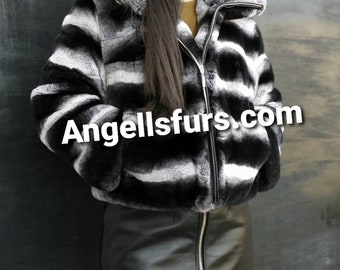 ROCK IT!Super Modern New and Natural Real Fullskin REX Fur Hooded jacket in Chinchilla color!