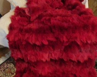 FUR For HOME!Brand New, Real,Natural Bright RED Fur Throw Blanket!