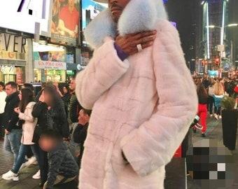 MEN'S New Real Natural Long MINK Fur COAT!