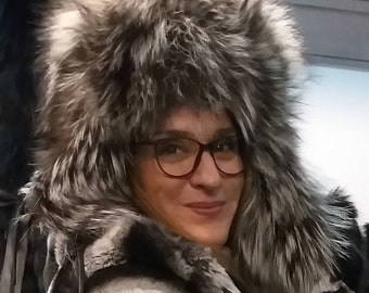 New!Natural,Real FLUFFY Silver Fox Fur Trapper HAT!