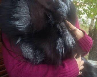 New!!!Natural Real Dark Silver FOX Fur  scarf!