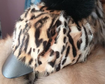 New!Natural,Real Fur Animal print Jockey style HAT with fox pom on top!