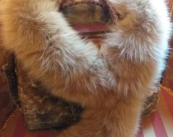 d39d20755af1 Natural Real beautiful super soft Beige color Fox Scarf!