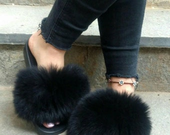 New Real BLACK  FOX Fur Slides!