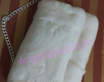 New!Natural,Real REX Fur in sugar WHITE color Envelope Bag!