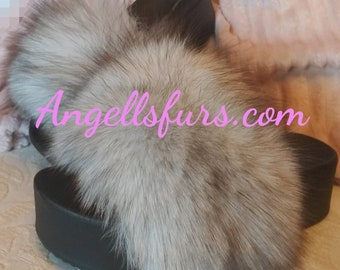 New Real Beautiful Blue FOX Fur FLATFORMS! ORDER Any color!