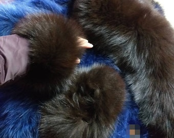 New!!!Natural Real Fullskin dark Brown Fox cuffs! Order in any color!