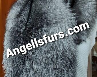 SILVER FROST FOX Collar!Fullpelt!Brand New Real Natural Genuine Fur!