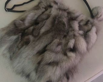 New!Real Natural color Blue FOX Fur Bag