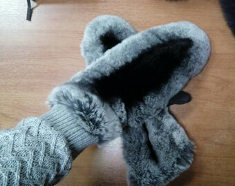 New!Natural,Real fullskin Rex FUR GLOVES! UNISEX!