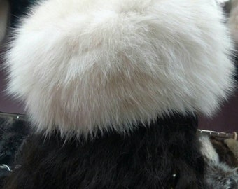 New!Natural,Real Pearl color Fox Fur HAT!!!