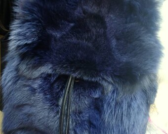 Backpack BLUE color Fox!New and Natural,Real Fur Bag!