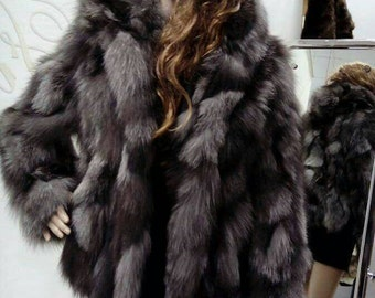 New,Natural Real Light SILVER fox Hooded Fur jacket!