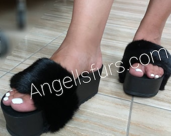 New Real Natural BLACK MINK Fur PLATFORMS!