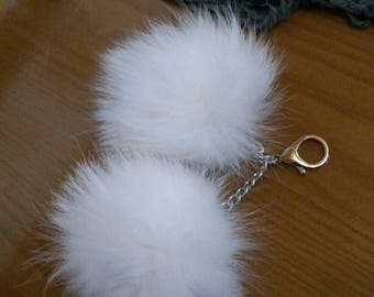 New! WHITE FOX CHERRIES Ponpom-keychain!