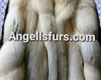 Men'S New Real Natural Full Pelts GOLDEN ISLAND FOX Fur Coat!