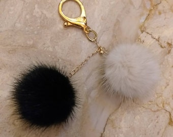 New Excellent Quality Real MINK fur CHERRIES pompons-keyring!