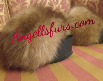 New Real Beautiful Fluffy Natural colors FOX Fur Platforms!Order ANY Color!