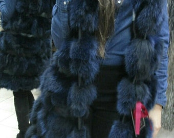 NEW! Natural,Real LONG BLue Fox Hooded Fur Vest with leather stripes! New Model!